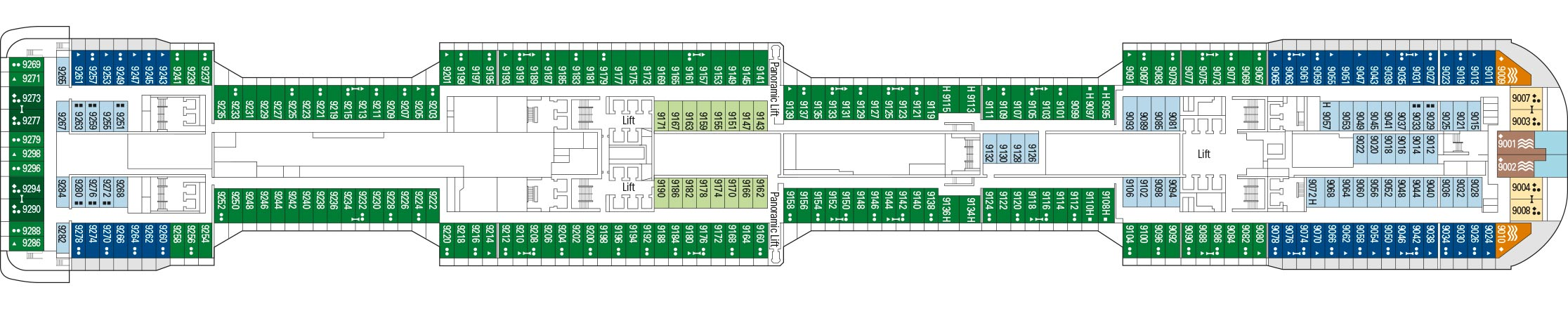 MSC Bellissima Deck Plan: 09 Seaside 20s