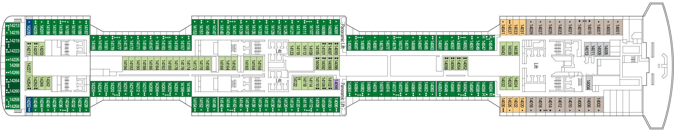 MSC Bellissima Deck Plan: 14 World Class 20s